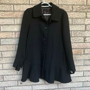 Zara women black pleated hem peplum coat size M